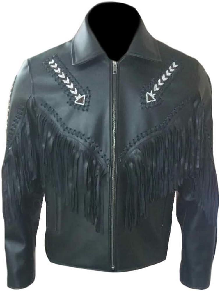 SleekHides Mens Western Fringed /& Beaded Real Leather Arrow Jacket