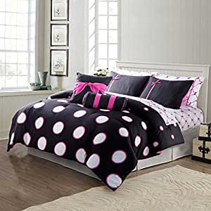 teen girl comforter sets hot pink black and white polka dot bed in a bag with. Black Bedroom Furniture Sets. Home Design Ideas