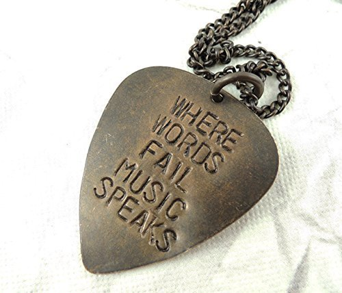 Hand Stamped Guitar Pick (Where Words Fail Music Speaks Hand Stamped Necklace Guitar Pick Necklace)