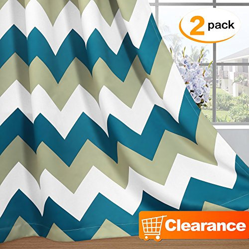 Thermal Insulated Blackout Grommet Curtain Drapes for Living Room Chevron Curtains for Bedroom - 52 inch Width by 96 inch Length-Set of 2 Panels - Sage / Teal (Drapes Geometric)