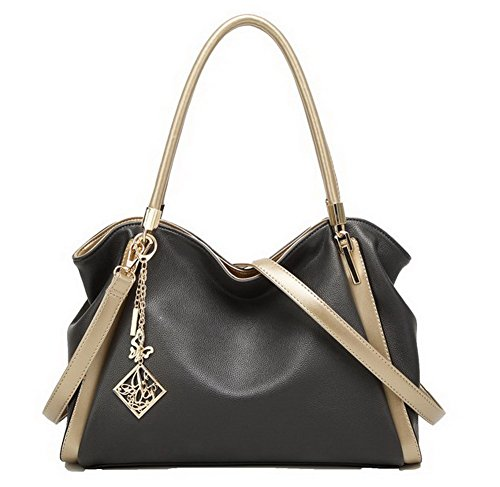 Agoolar Decorated Women's Fashion Pu Handbags Casual Crossed Gray Handbags
