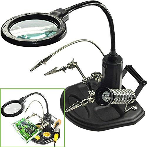 LED Light Helping Hands Magnifier Station - FEITA 2.5X/4X Lighted Heavy Base Magnifying Glass Stand with Auxiliary Clamp Alligator Clips - for Soldering, Assembly, Repair, Workshop, Hobby and Crafts