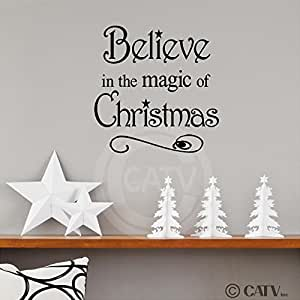 Believe in the Magic of Christmas 12x12 vinyl wall art decals sayings words lettering quotes home decor