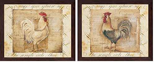 2 Rustic Rooster Country Kitchen Art Prints Home Decor; Two 10x8in Brown Framed Prints; Ready to hang!