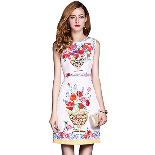 Printed a Dresses Neck line cotyledon Dresses Women`s Sleeveless Round 7A0qnpUOw