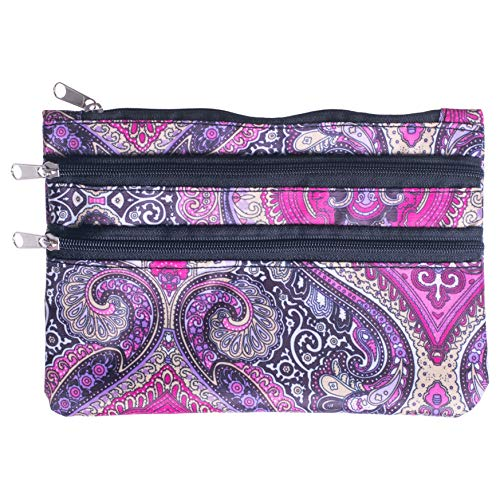Zippered Lined Retro Purple Paisley 8 x 5 Microfiber Fabric Coin Purse ()
