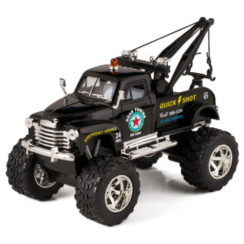 Black 1953 Chevy Off-Road Wrecker Die Cast Tow Truck Toy with Monster (Diecast Monster Truck)