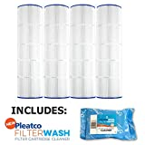 4 Pack Pleatco Cartridge Filter PA100N-PAK4 Pool Hayward C4000 C4020 CX870RE C-7487 w/ 1x Filter Wash