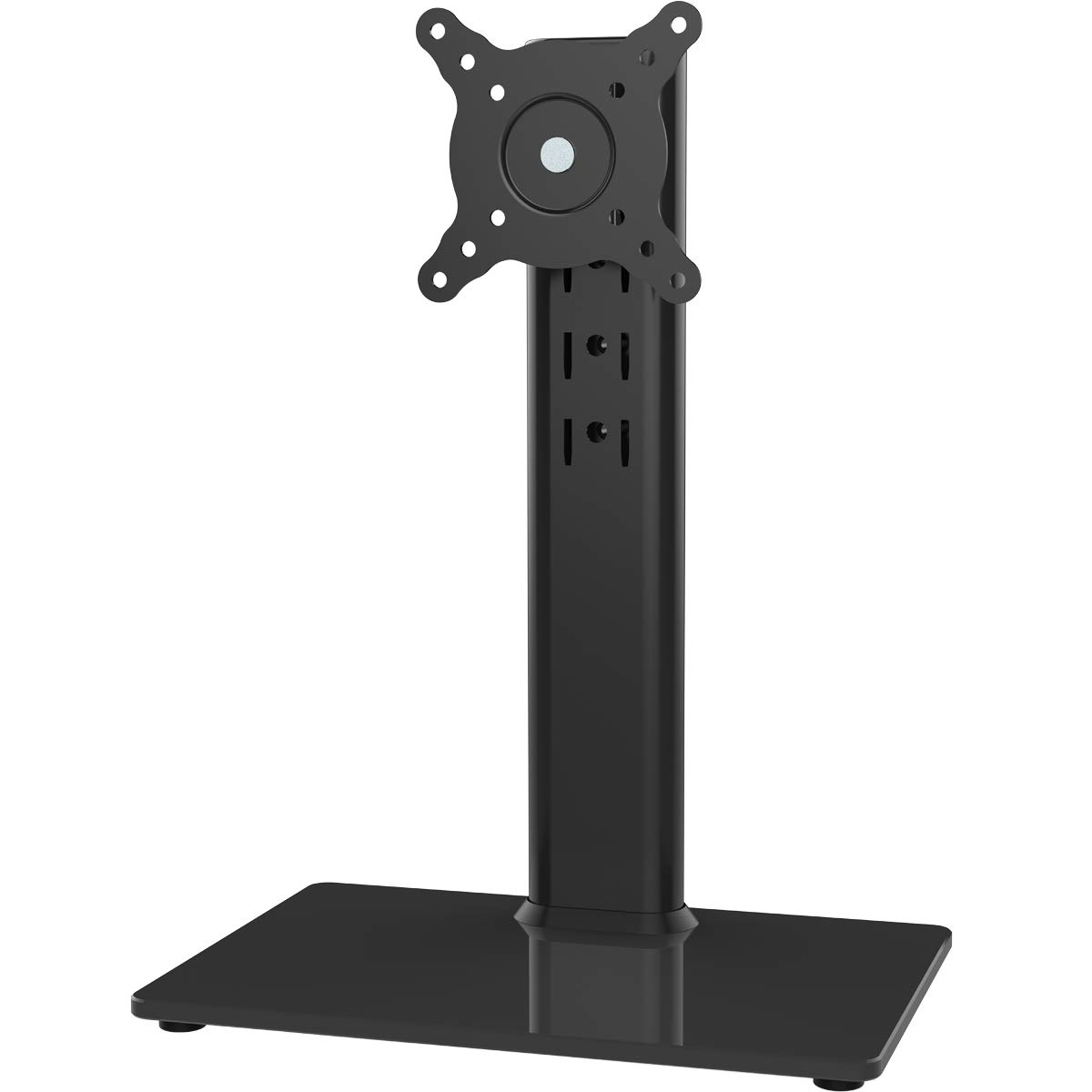 Single LCD Computer Monitor Free-Standing Desk Stand Riser for 13 inch to 32 inch Screen with Swivel, Height Adjustable, Rotation, Holds One (1) Screen up to 77Lbs(HT05B-001))