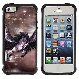 All-Round híbrido Heavy Duty de goma duro caso cubierta protectora Accesorio Generación-II BY RAYDREAMMM - Apple iPhone 5 / 5S - Pegasus Stars Horse Wings Flying Mystical