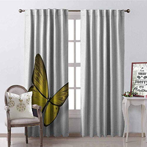 (GloriaJohnson Yellow Blackout Curtain Romantic Butterfly with Yellow Wings of The Spring Coming of The Summer Sign 2 Panel Sets W52 x L54 Inch Yellow Green Brown)