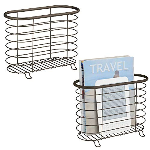 - mDesign Decorative Metal Farmhouse Magazine Holder and Organizer Bin - Standing Rack for Magazines, Books, Newspapers, Tablets in Bathroom, Family Room, Office, Den - 2 Pack - Bronze