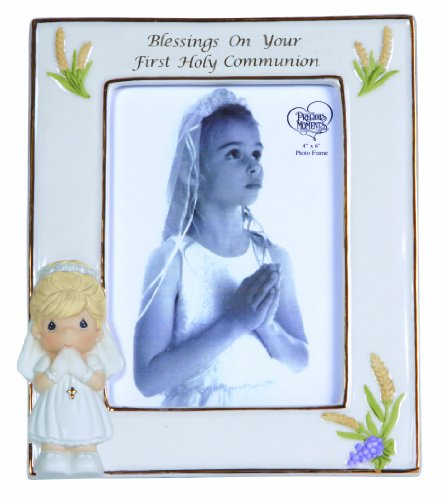 Precious Moments,  Blessings On Your First Holy Communion, Bisque Porcelain Photo Frame, Girl, 123410 -