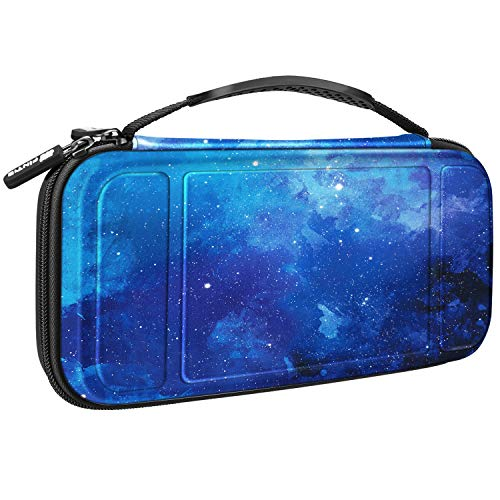 Fintie Carry Case for Nintendo Switch - [Shockproof] Hard Shell Protective Cover Travel Bag w/10 Game Card Slots, Inner Pocket for Nintendo Switch Console Joy-Con & Accessories, Starry Sky
