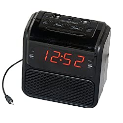 Sonnet R-2218 0.9 LED Single Day Alarm Clock Radio with 2 USB Ports and Aux in Cord, Black