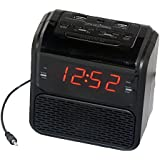 """Sonnet R-2218 0.9"""" LED Single Day Alarm Clock Radio with 2 USB Ports and Aux in Cord, Black"""