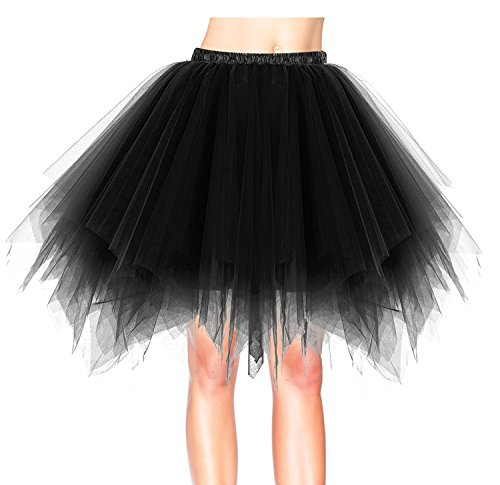 Flying Rabbit Women's Retro Vintage 50 Tulle Elastic Style Rockabilly Swing Petticoat Tutu - Frilly organza Skirt for Wedding & Cocktail & Party (Organza Petticoat)