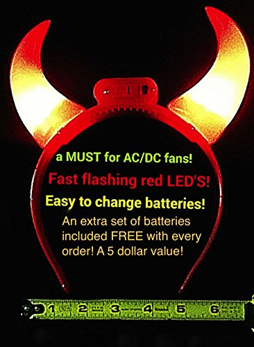 Light Up Bright Red FLASHING LED Devil Horns! - AC/DC is coming back! ()