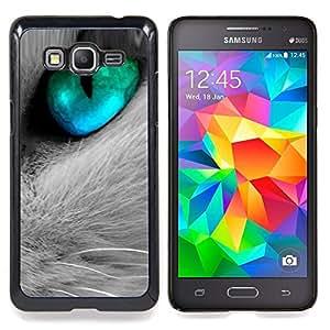 Queen Pattern - FOR Samsung Galaxy Grand Prime G530H G5308 - Cat Eye Fur Cute Feline Pet Grey Aquamarine - Cubierta del caso de impacto con el patr???¡¯???€????€?&