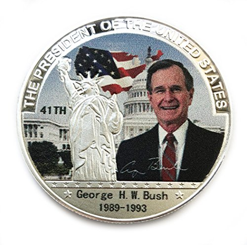 OZUKO 41th President George H.W. Bush Commemorative Coin Challenge Coins Novelty Coin Political Gift (Silver)