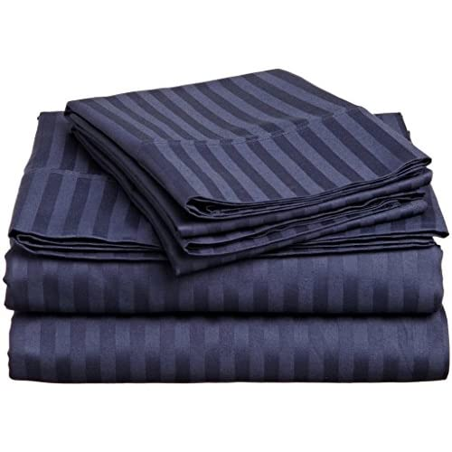 Laxlinen 500 Thread Count 100% Egyptian Cotton Super Quality 1PC Flat Sheet(Top Sheet) Emperor /Wyoming King Size, Navy Blue Stripe for cheap
