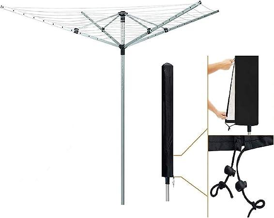Tendedero giratorio plegable N/A, tendedero giratorio, tendedero giratorio, para jardín al aire libre, 4 brazos, 50 m, con lanza de suelo y cubierta antipolvo, Aleación, Plateado, 50 m: Amazon.es: Hogar