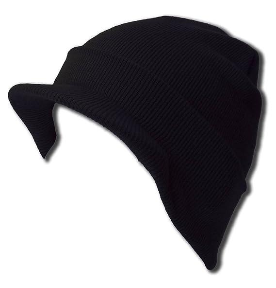 663b3aa0f6f Amazon.com  NEW CUFF BLACK Beanie Visor Skull Cap HAT USA  Clothing