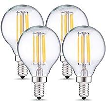DORESshop G14 Candelabra LED Bulbs, 4W (40W Equivalent) Edison Globe Light Bulb, Dimmable LED Filament Bulb E12 Base, 2700K Warm White, 400LM, Decorative Candle Lights for Ceiling(4-PACK)