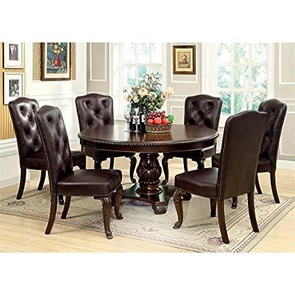 Amazon.com: Furniture of America Ramsaran 7 Piece Round Dining Set ...