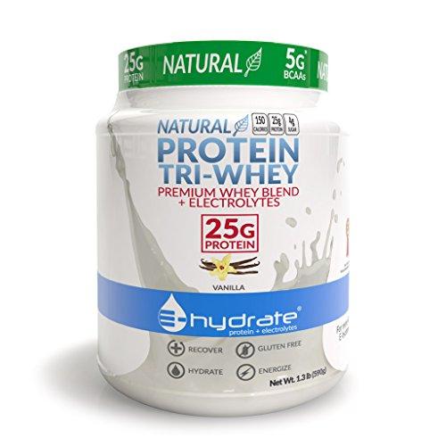 E-hydrate Tri-Whey Protein Powder Gluten Free BCAA + Electrolytes Hydrate Recover, Vanilla, 1.3lb Tub