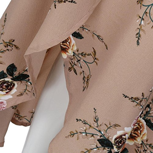 Sleeve Femme de Dress Long Chic V Fete Imprime Short Robe Sexy Feixiang Kaki de Plage Fleurie Robe Col Longue Robes Cocktail Beach TxqRA8Aw