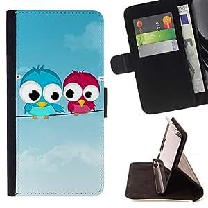 For Sony Xperia Z1 L39 - Cute Love Birds /Funda de piel cubierta de la carpeta Foilo con cierre magn???¡¯????tico/ - Super Marley Shop -