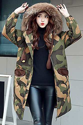Generic Korea _Institute_ fashion style _camouflage_ hooded _real_ fur collar coat long _section_ thick Slim thin jacket Women girl students