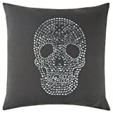 Rizzy Home Andrew Charles Collection Studd Work Cotton Duck Decorative Throw Pillow, 20'' x 20'', Charcoal Grey