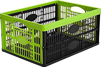 CleverMade Collapsible Grated Storage Container, 32 Liter (33.5 Quart), Kiwi Green, 6 Pack by ZIEL Innovations - Clever Crates