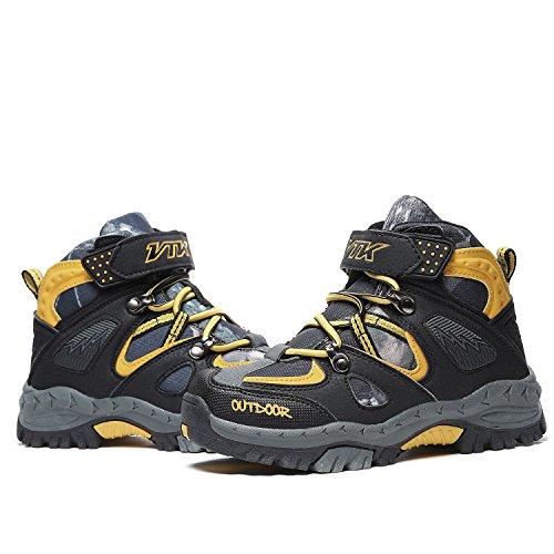 Ashion Kids Hiking Shoes Walking Snow Boots Antiskid Steel Buckle Sole Waterproof Winter Outdoor Climbing Cotton Sneaker 0-yellow botyH