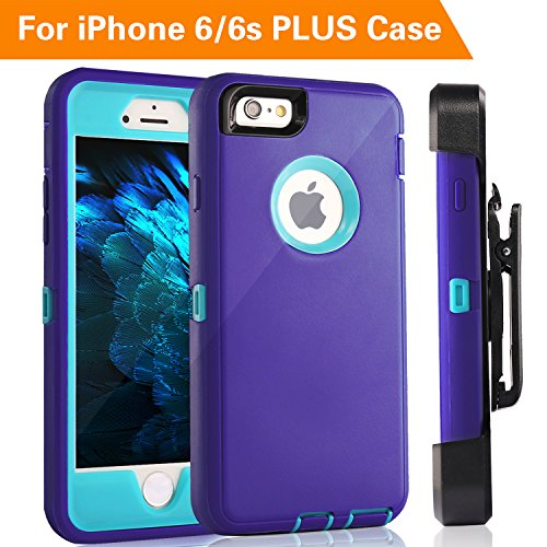 FOGEEK iPhone 6S Plus Case, Protective Case Heavy Duty Cover Compatible for iPhone 6 Plus & iPhone 6S Plus 5.5 inch 360 Degree Rotary Belt Clip & Kickstand(Purple/Blue)