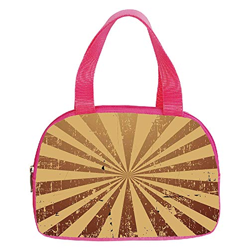 Ellington Vintage Tote - Polychromatic Optional Small Handbag Pink,Geometric,Ikat Ogee Pattern Classical Trellis Vintage Abstract Symmetrical Graphic Decorative,Yellow Grey White,for Girls,Print Design.6.3