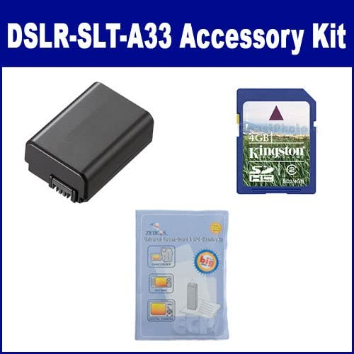 ZELCKSG Care /& Cleaning KSD4GB Memory Card Sony Alpha DSLR-SLT-A33 Digital Camera Accessory Kit Includes SDNPFW50 Battery