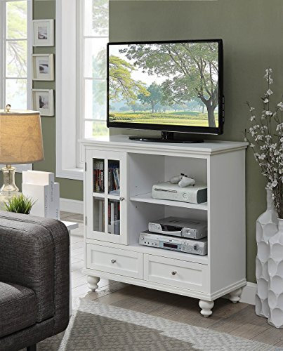 Convenience Concepts 8067000W Tahoe Tv Stand White (Tv Highboy White Stand)