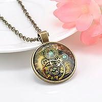 ERAWAN Metal Punk Steampunk Gears Clock Watch-Face Glass Art Pendant Chain Necklace EW sakcharn (#1)