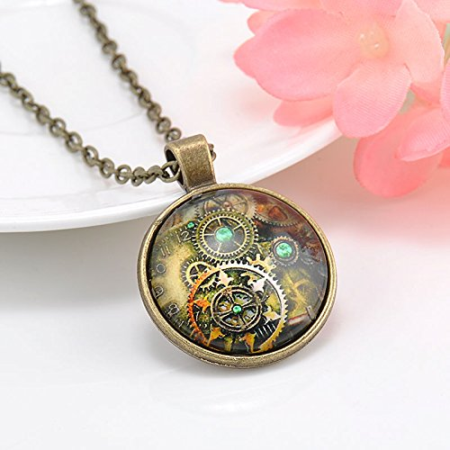 ERAWAN Metal Punk Steampunk Gears Clock Watch-Face Glass Art Pendant Chain Necklace EW sakcharn (#1) (Gear Fan Watch)