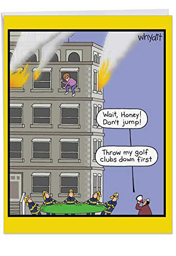 Large Hilarious Greeting Card - 'Golf Clubs Fire' with Envelope 8.5 x 11 Inch - Big Happy Anniversary Wishes With a Funny Joke - for Husband, Wife, Boyfriend or Girlfriend J5391ANG