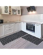 COSYLAND 2 stuks keukenmatten anti-vermoeidheid comfortmat keukentapijt, zware staande matten waterdichte keukentapijten, vloermat antislip deurmat buiten binnen (44 x 60 cm + 44 x 120 cm) (zwart)