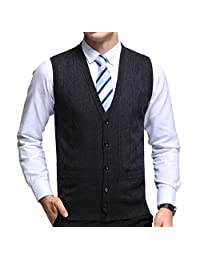 FULIER Mens Winter Wool V-Neck Sleeveless Vest Gentleman Sweater Tank Tops