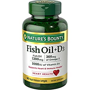 Nature's Bounty Fish Oil 1200 mg + Vitamin D3 1000 IU, 90 Softgels (Packaging May Vary)
