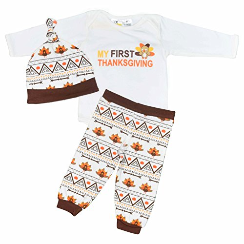 Unique Baby Unisex My First Thanksgiving Layette Set with Cap (12 (Egyptian Outfits For Boys)