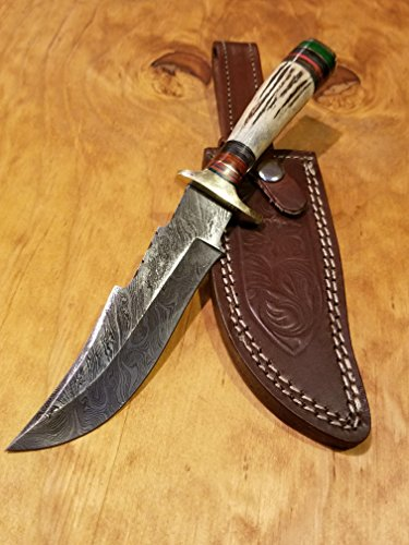 Handmade Deer Antler Handle Hunting Knife Damascus Blade Stag Collection With Leather Sheath Premium (A237) by Artisan Bound