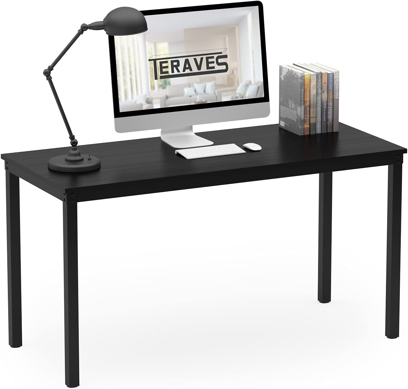 """Teraves Computer Desk/Dining Table Office Desk Sturdy Writing Workstation for Home Office(47.24"""", Black)"""