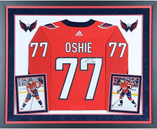 T.J. Oshie Washington Capitals Deluxe Framed Autographed Red Adidas Authentic Jersey - Fanatics Authentic Certified